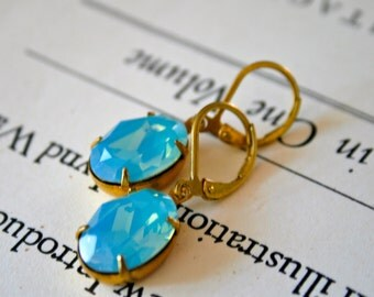 Pacific Opal Swarovski Crystals in Brass, Leverback Ear Wires, Oval Crystals, Lightweight Earrings