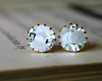 Crystal & White Givre Crystals in Brass Settings, Swarovski, Sweet, Simple, Kate Earrings, Gift Under 30