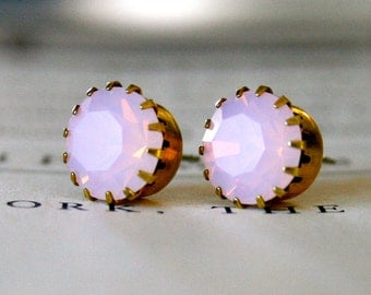 Pink Opal Swarovski Crystals in Brass Settings, Pastel, Pop of Color, Swarovski, Gift Under 30