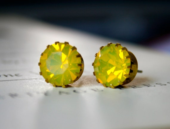 Yellow Opal Crystals in Brass Prong Settings, Bridal Jewelry, Sunshine, Bright, Pop of Color, Kate Earrings, Holiday Gift