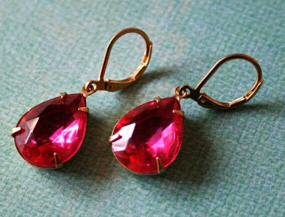 Clearance Sale - Vintage Dark Rose Glass Pear Earrings