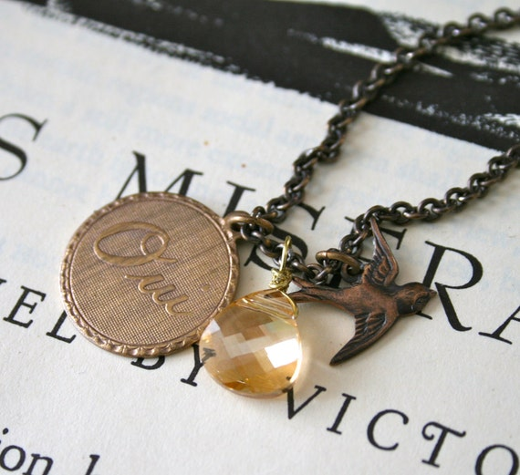 Clearance - Customizable Charm and Swarovski Crystal Necklace, Sparrow, Oui, Amore, Layered Charms, Oxidized Brass