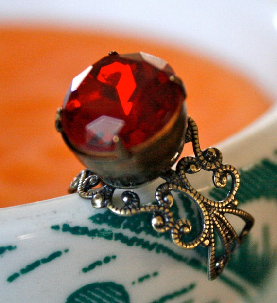 Vintage Ruby Glass Ring, Oxidized Brass, Adjustable,  Romantic, Hollywood Glamour