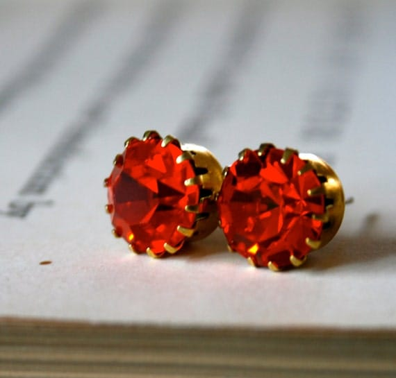 Hyacinth Crystals in Brass Tiffany Settings, Orange, Bridal Jewelry, Citrus, Pop of Color, Jewel Tone, Kate Earrings