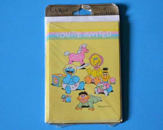 vintage sesame street baby shower invites by thegreenclock on etsy