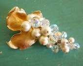 Vintage Brooch - Gorgeous Leaf with Iridescent Glass Beads and Faux Pearl Cluster