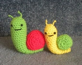 Made to order, Hand Crocheted Snail Family Mother / Daddy and Baby You choose the colors, mother and child