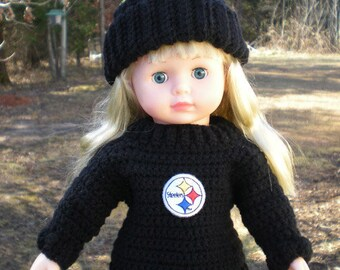 """18"""" Doll American Doll Crocheted Winter Sweater and Hat Set NFL or College Football Team You Choose"""