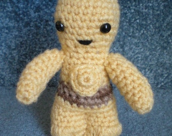 Made to order, Hand crocheted Star Wars like C-3PO Droid Amigurumi Doll