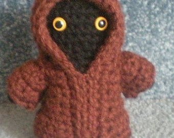 Made to order, Hand crocheted Star Wars Jawa Amigurumi Doll