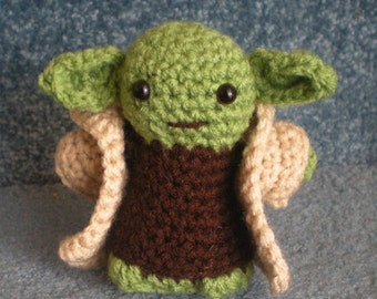 Made to order, Hand crocheted Star Wars Yoda with Cloak Amigurumi Doll