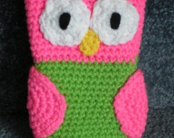 Made to order Hand Crocheted Owl iPhone Cell Phone Cover Bag Summer Pink/Green