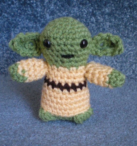 Made to order, Hand crocheted Star Wars Yoda Amigurumi Doll