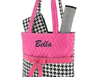 Personalized Diaper Bag in Pink and Houndstooth 3 PIECE