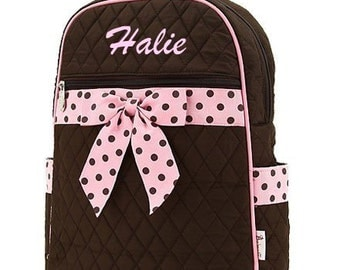 Personalized Kid Backpacks in Brown with Pink polka dot ribbon accent   LARGE