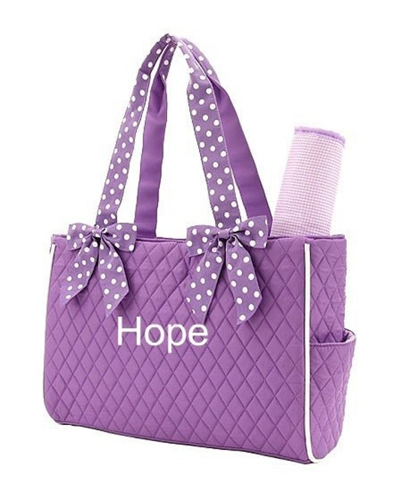 personalized diaper bag in purple 2piece. Black Bedroom Furniture Sets. Home Design Ideas