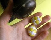 Vintage Yellow & White Geometric Earrings