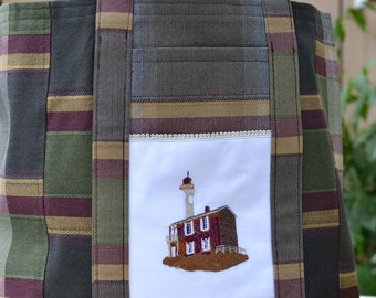 Beachy Plaid Embroidered Lighthouse Tote Bag