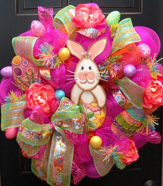 Chic Happy Easter Bunny Wreath Deco Mesh Round Top