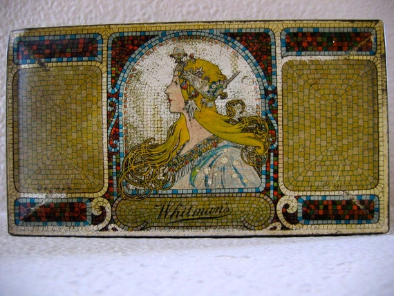 Whitman's Antique Tin Chocolate Sampler Box 1900 Alphonse Mucha Art Nouveau