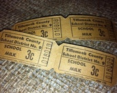 30 Vintage Roll Tickets-  Vintage School Ephemera Roll Style Tickets -School Milk 3 cents - School Lunch 30 Cents- 2 styles/vintage tickets