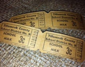 30 Vintage Roll Tickets-  Vintage School Ephemera Roll Style Tickets -School Milk 3 cents - School Lunch 30 Cents- 2 styles/vintage tickets