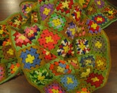 Vintage Rainbow Granny Squares Crochet Afghan Blanket by Earth Mama Allie on Etsy