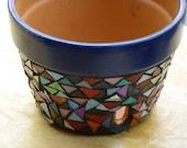 Blue mosaic orchid pot