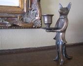 Vintage Mid Century Brass Fox Butler candle stick holder