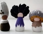 Waldorf Mushroom Felt Fairies, Gnomes, Natural Toy, Ped doll, - Guchi Lupa Tinua