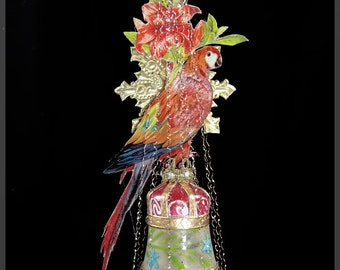Victorian Christmas Ornament - The Parrot || Victorian ornament, handmade, vintage, antique, scrap, feather tree