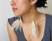 Pavo in Neutral. 14k gold filled handmade dangles with Neutral peacock feathers