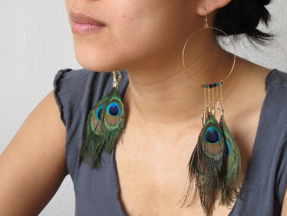 Pavo. 14k gold filled handwired peacock dangles with Swarovski