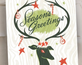 Seasons Greetings - Holiday Cards - Reindeer Christmas Notes - Set of 15 - Ready to Ship