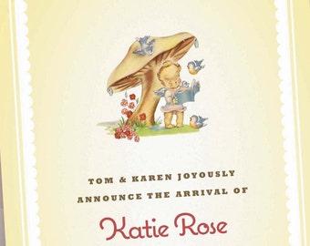Custom Birth Announcements - Baby Girl Pink  - Kewpie under Mushroom - Personalized Newborn Photo Card - 75 Announcements