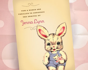 Custom Birth Announcements - Vintage Bunny - New Baby Card - Baby Girl Pink - 100 Cards