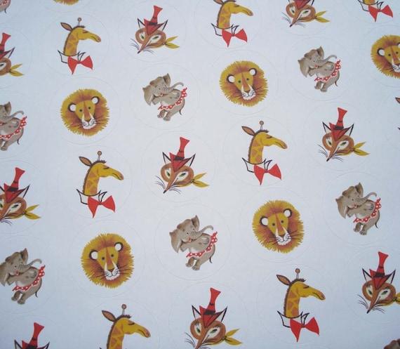 Circus Animal Sticker Sheet - Lion - Fox - Giraffe - Elephant