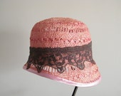 Dressy vintage style pink cloche handmade hat for women - 20s style hat for bar mitzva Israel -  womens hat - summer hat - couture lace hat