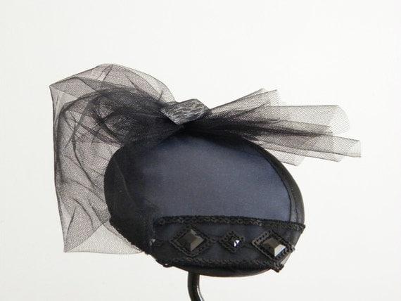 Black cocktail hat - Black fascinator - Blue womens evening hat - Grey/petrol fascinator womans hat