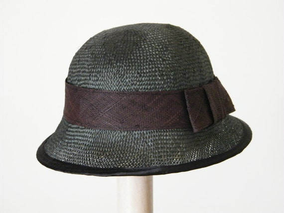 Green straw summer hat for women Straw top hat Sun Hat for Ladies Derby Ascot hat handmade in Israel