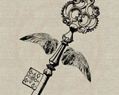 Winged Key Instant Download Digital Image No.84 Iron-On Transfer to Fabric (burlap, linen) Paper Prints (cards, tags)