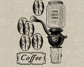 Coffee Mill Digital Instant Download Digital Image No.32 Iron-On Transfer to Fabric (burlap, linen) Paper Prints (cards, tags)