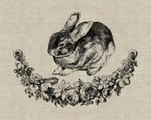Cute Easter Bunny Instant Download Digital Image No.117 Iron-On Transfer to Fabric (burlap, linen) Paper Prints (cards, tags)