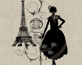 Woman Silhouette Eiffel Tower Paris Instant Download Digital Image No.48 Iron-On Transfer to Fabric (burlap linen) Paper Prints (cards tags)
