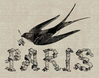 Paris Swallow Ribbon Script Instant Download Digital Image No. 56 Iron-On Transfer to Fabric (burlap, linen) Paper Prints (cards, tags)