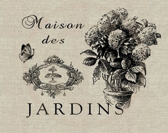 Maison des Jardins Instant Download Digital Image No.106 Iron-On Transfer to Fabric (burlap, linen) Paper Prints (cards, tags)