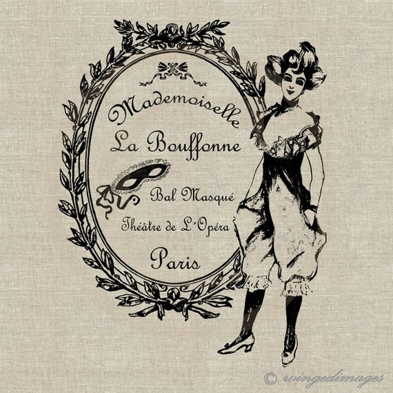 Vintage French Ad Instant Download Digital Image No.66 Iron-On Transfer to Fabric (burlap linen) Paper Prints (cards tags)
