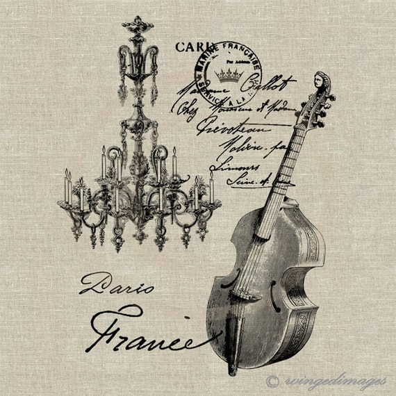 Antique French Musical Instrument Instant Download Digital Image No 34 Iron-On Transfer to Fabric (burlap, linen) Paper Prints (cards, tags)
