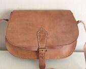 Sale was 75.00 pounds now 65.00 pounds Leather handbag saddle bag shoulder bag crossbody bag in tan