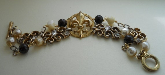 Fleur De Lis Bracelet Vintage Repurposed Assemblage French Garnet Rhinestone Pearl
